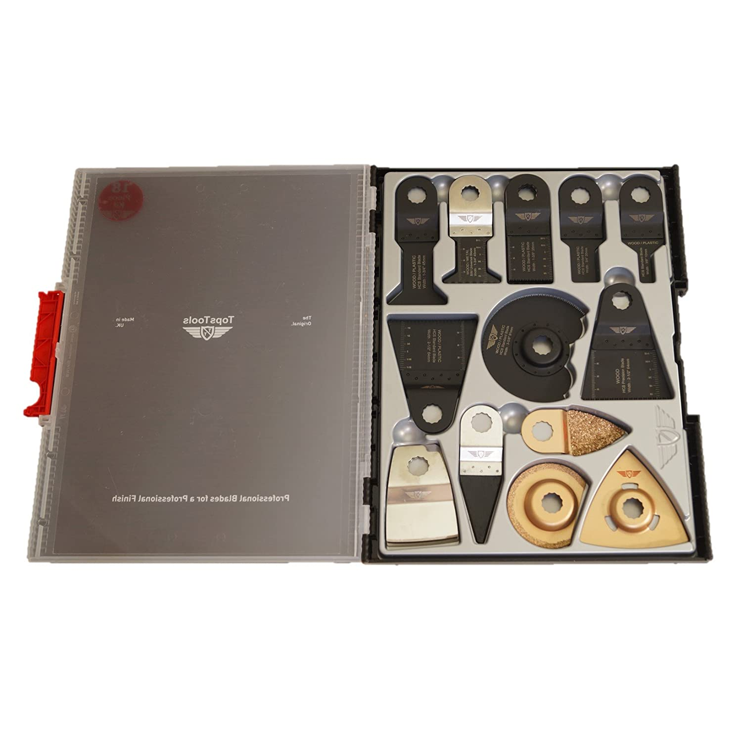 18 x TopsTools SW_WXK18 Mix Blades Box Set for Worx Sonicrafter, Worx 250W, Erbauer Multitool Multi Tool Accessories