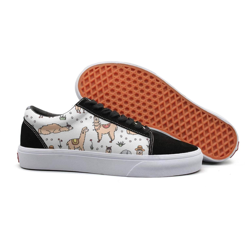 Alpaca Llama Cactus in Desert Young Women Flat Walking Shoes for Womens Quick-Drying Budge Leather Shoe