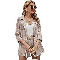 SheIn Women's 2 Pieces Plaid Thin 3/4 Sleeve Blazers and Self Tie Waist Shorts Set