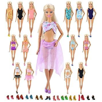3eaa7969a Amazon.es  Miunana 20x   10 Piezas Traje de Baño Bañadores Ropas Playa + 10  Pares de Zapatos Accesorios como Regalo para Muñeca Barbie 30cm Doll - Estilo  al ...