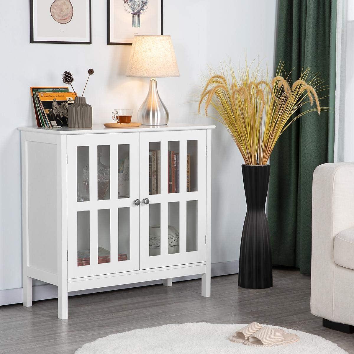 - Amazon.com: YAHEETECH Floor Storage Cabinet With Glass Door And