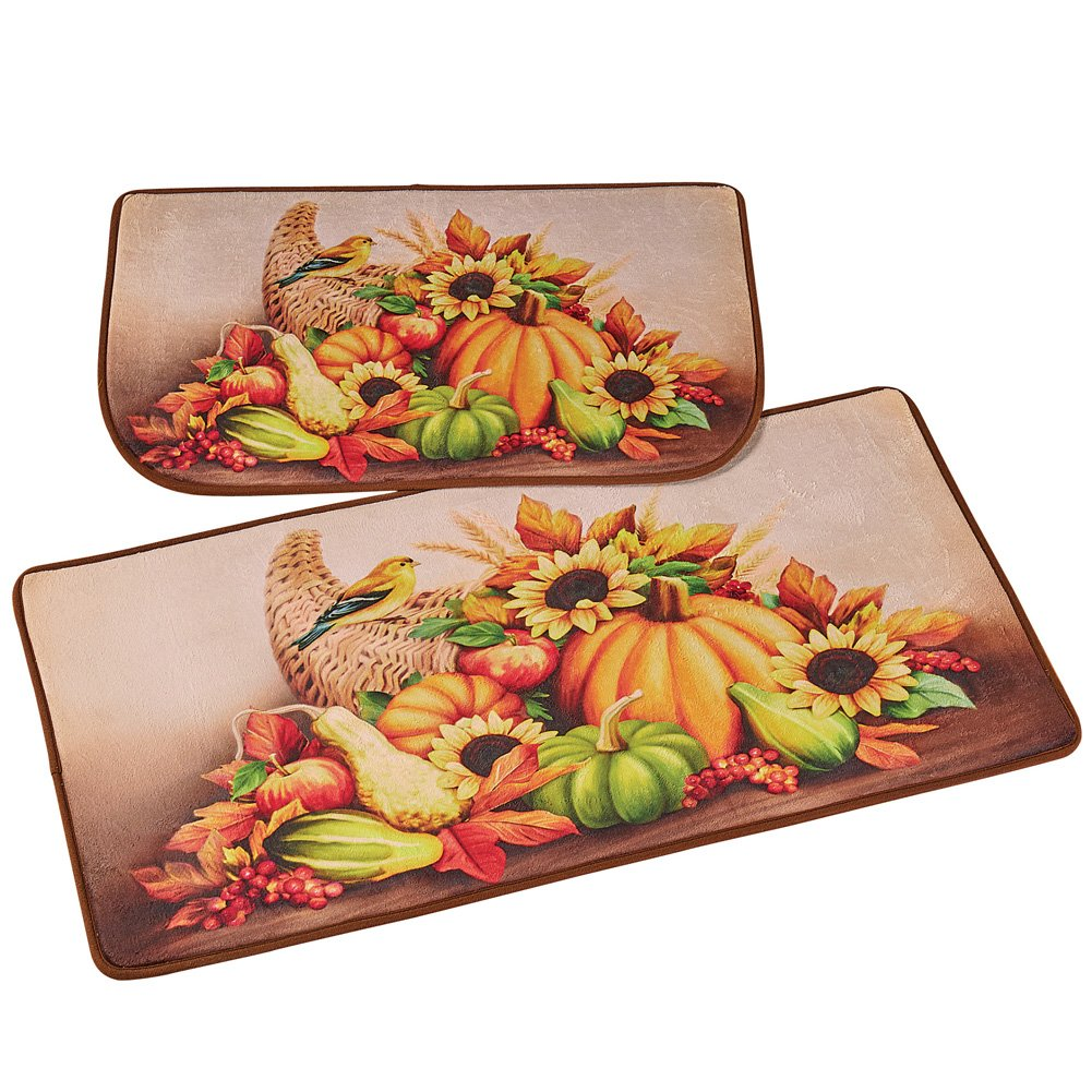 Collections Etc Fall Harvest Skid-Resistant Rug Set for Kitchen, Entryway, Bathroom, Home Décor, 2 pc