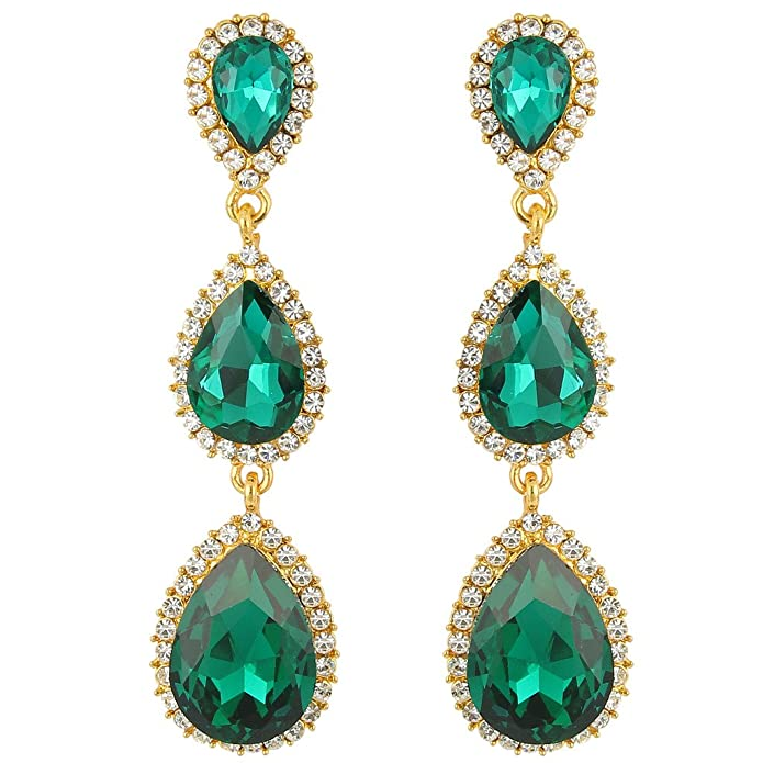 Vintage Style Jewelry, Retro Jewelry EleQueen Womens Gold-tone Austrian Crystal Teardrop Pear Shape 2.5 Inch Long Earrings Emerald Color $12.99 AT vintagedancer.com