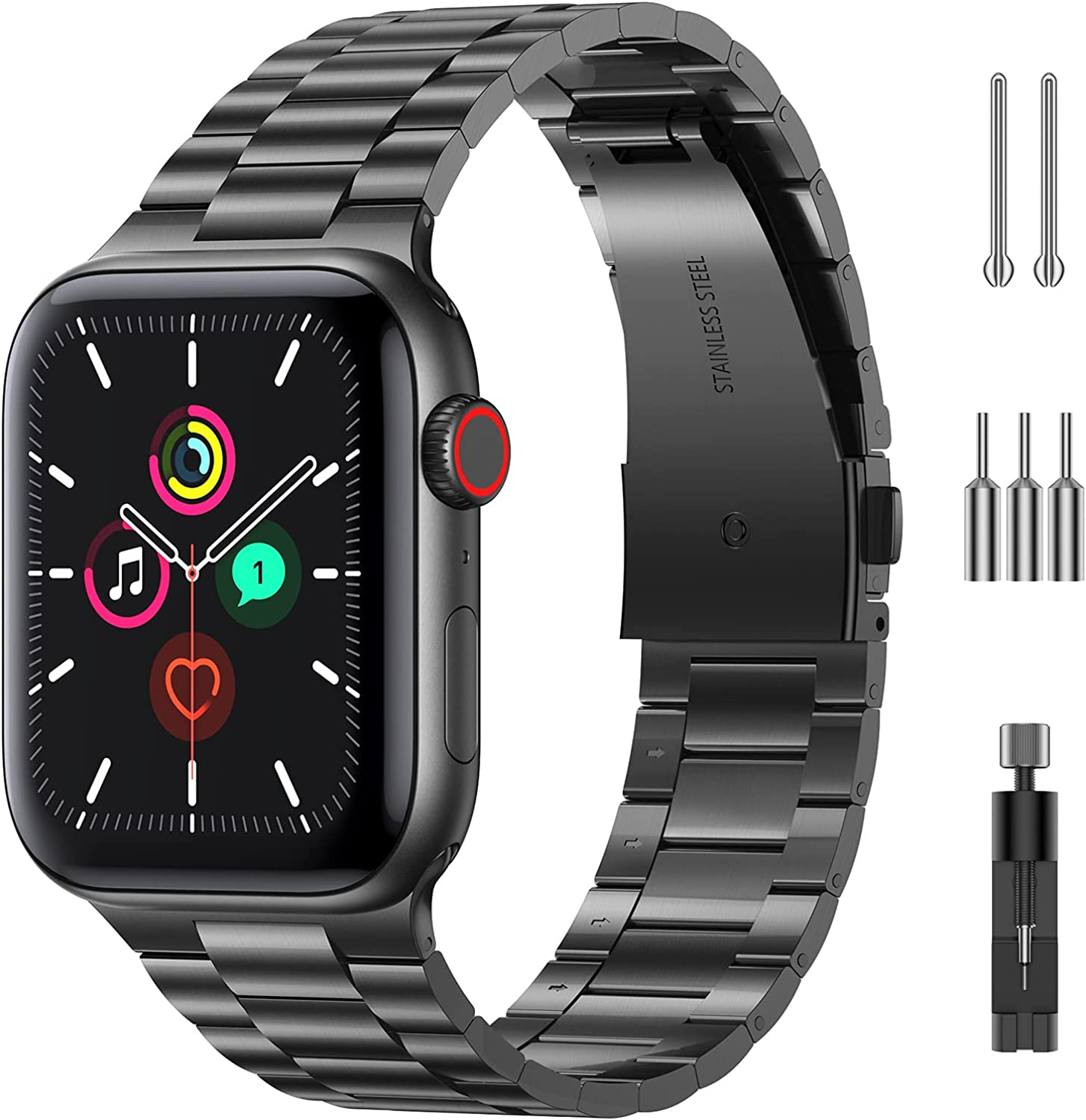 MOBOSI Compatible with Apple Watch Band 38mm 40mm 42mm 44mm Thin Replacement Band Stainless Steel Metal Wristband for Watch SE Series 6/5/4/3/2/1