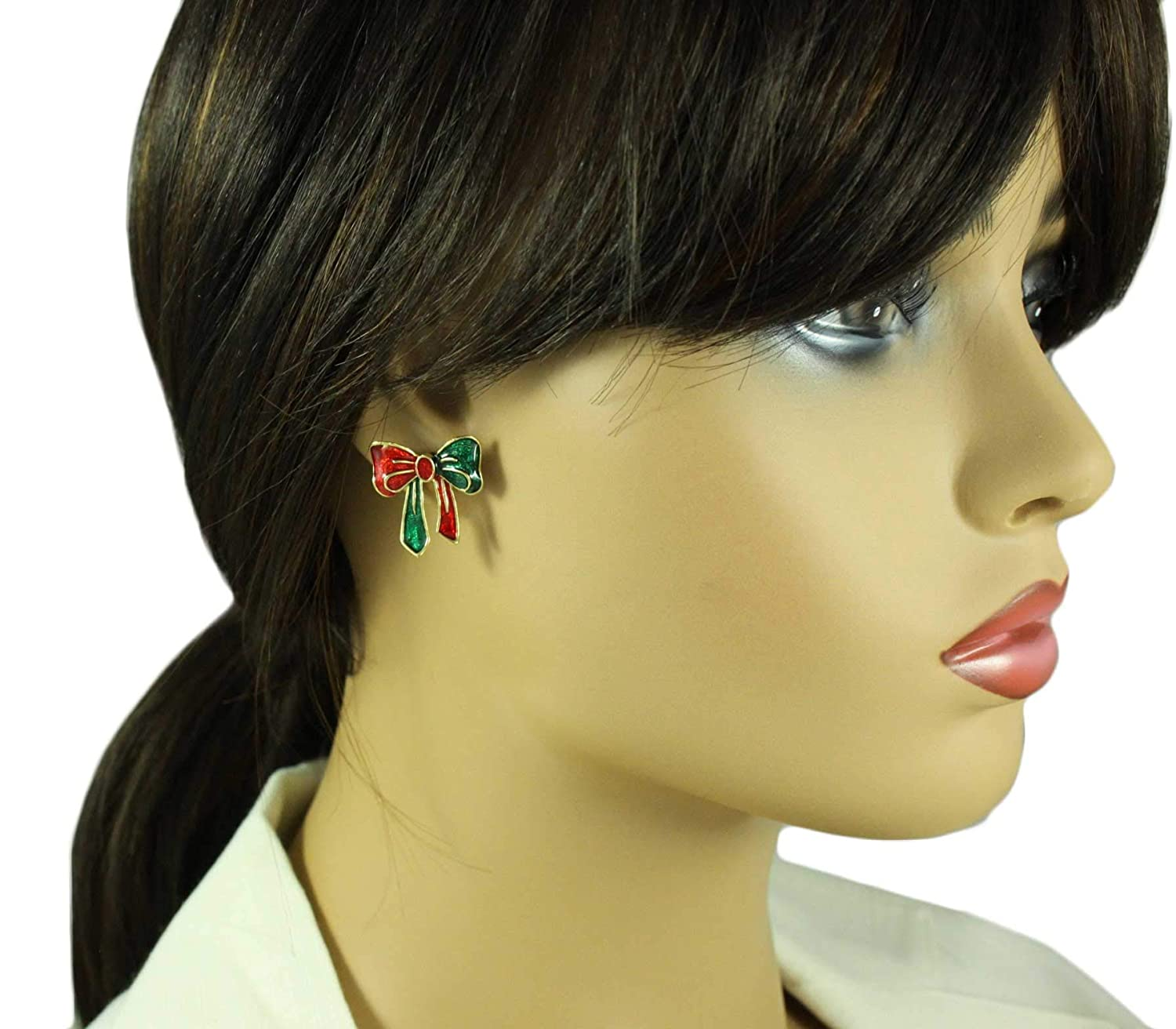 Red and Green Enamel Christmas Bow Pierced Earring