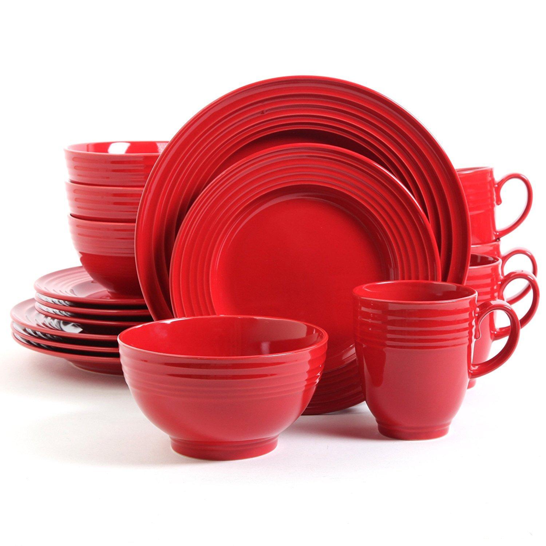 Red 16 Piece Dinnerware Set, Stoneware Dinner Set for 4, Elegant, Variation