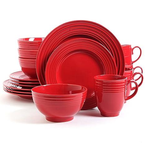 Amazon.com: Rojo de 16 piezas Vajilla Set, Gres Vajilla para ...