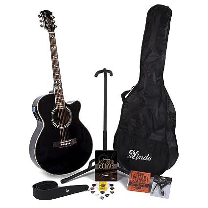 Lindo Black Fire – Guitarra electroacústica con LCD sintonizador XLR/bolsa y completo Pack de