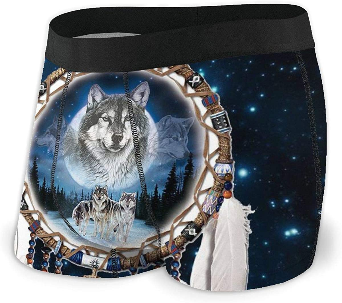 Mens New Soft Breathe Wolf Printed Underwear Boxers Briefs Underpants Shorts