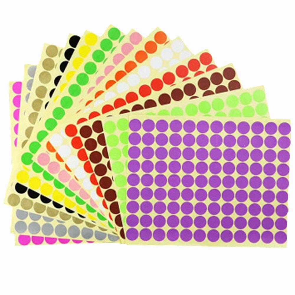16mm Puntino Rotondo Adesivi Etichette Codifica a Colorate, 14 Colore Diverso Etichette Autoadesive Foglio per Calendario Planner Arredamento Organizzazione Aula vientiane