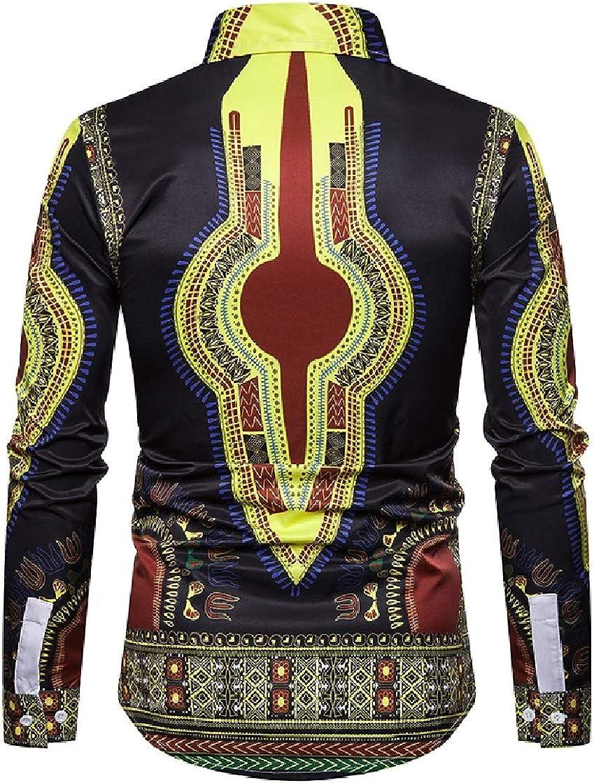 YUNY Mens African Dashiki 3D Digital Printed Long-Sleeve Western Shirt Black 2XL