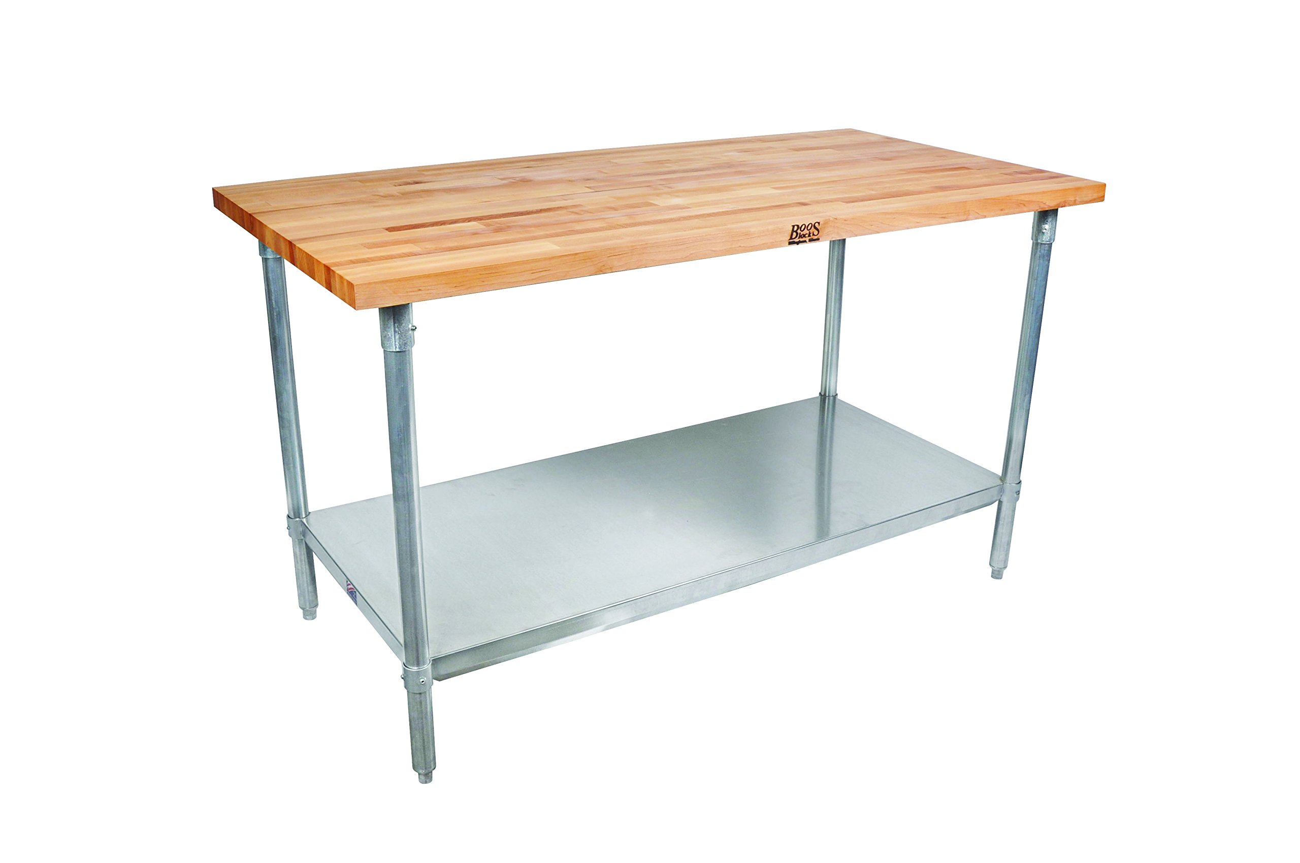 John Boos JNS09 Maple Wood Top Stallion Work Table, Galvanized Legs, Adjustable Lower Shelf, 1-1/2'' Thick, 48'' Length x 30'' Width