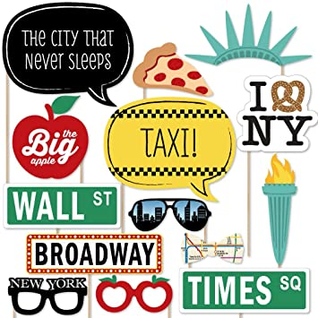 New York Photo Booth Props Kit 20 Count Amazoncouk Toys Games