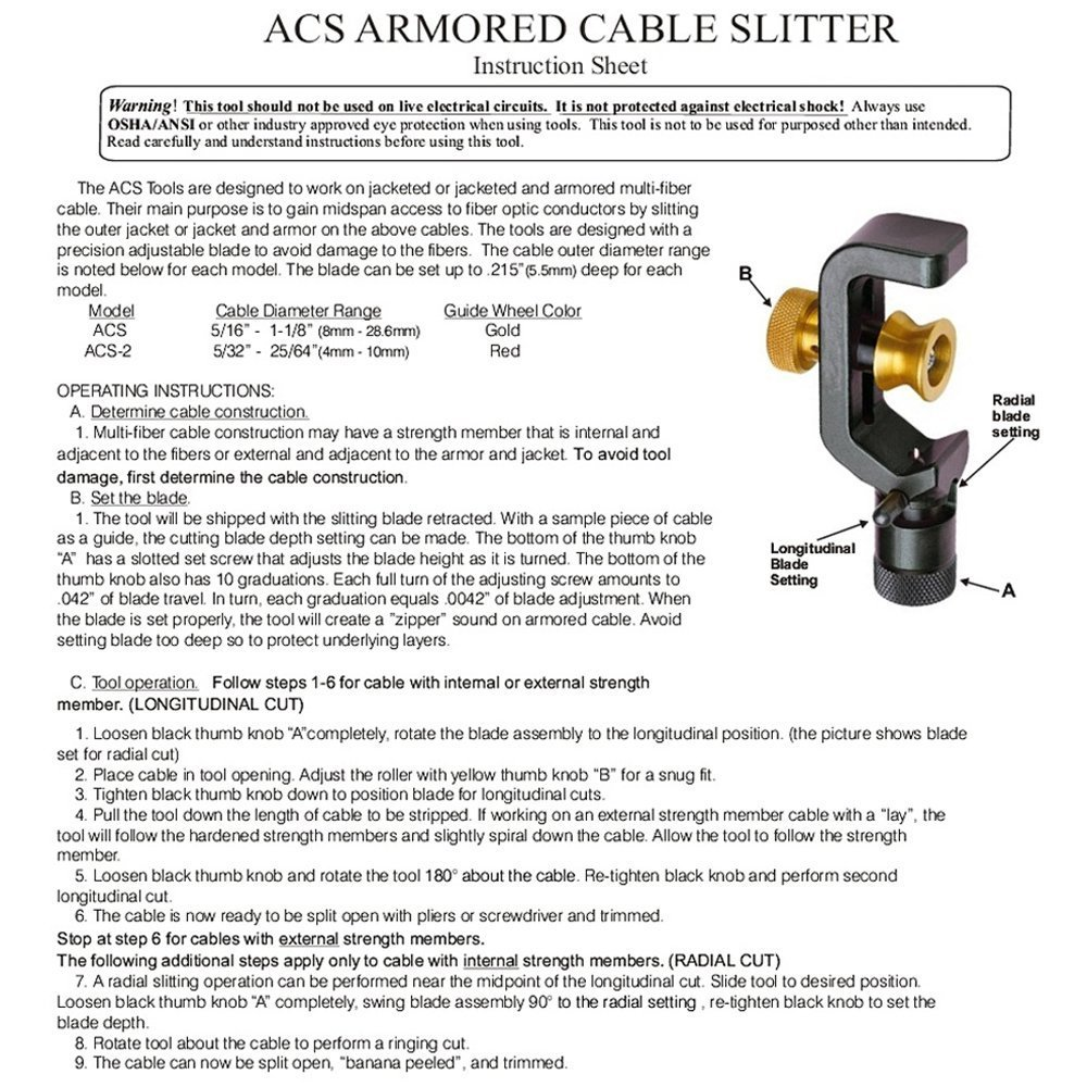 Miller Armor Cable Slitter (Replacement Blade: F1-CB251K) Adjustable from 8mm to 28.6mm in Diameter