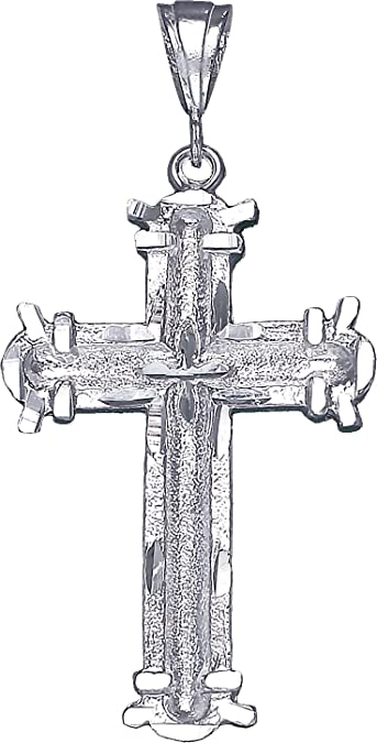 Sterling Silver Cross without Jesus Pendant Necklace Diamond Cut Finish and Chain