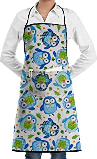 SDGSS with Pocket Apron,Owls Chef Apron Bib Apron Kitchen Apron Adjustable Extra Long Ties Women Men BBQ Baking Cooking-Black