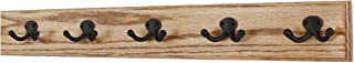 """product image for PegandRail Oak Coat Rack with Aged Bronze Double Style Hooks (Golden Oak, 25.5"""" x 3.5"""" with 5 Hooks)"""
