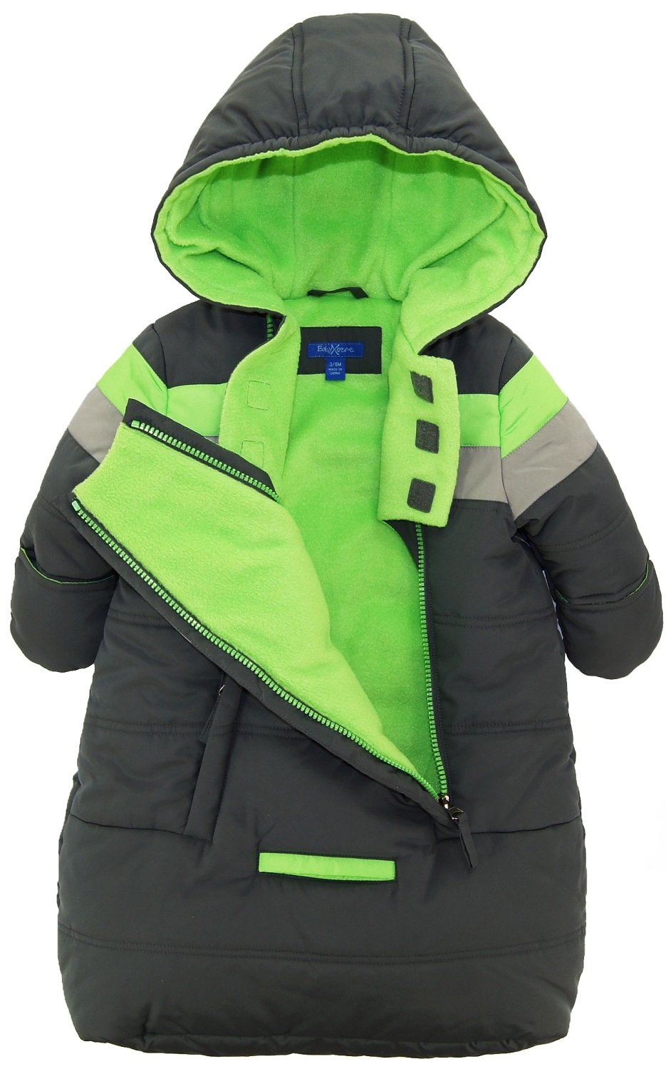 iXtreme Baby Boys Snowsuit Colorblock Stripes Puffer Carbag, Grey, 3-6 Months by iXtreme (Image #2)