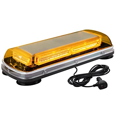 "ASPL 17"" Emergency Mini LED Light bar, 64LED High Visibility Low Profile Roof Mount Strobe Light Bar, With Magnet Base,for All 12-24V Emergency Vehicle (Amber): Automotive"