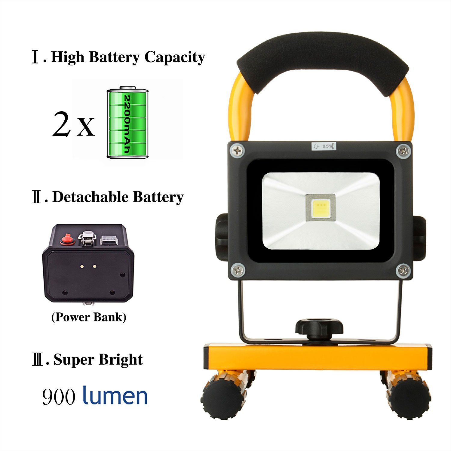 10w work light loftek portable led outdoor flood light and detachable 4400mah battery charger waterproof 700900lm yellow cordless tool battery packs