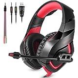 ONIKUMA Auriculares Gaming K1. Auriculares Estéreo con Diadema y Micrófono para Xbox 360 / Xbox One s / PS3 / PS4 / PC/Teléfonos Móviles. con Iluminación LED(Rojo+Negro)