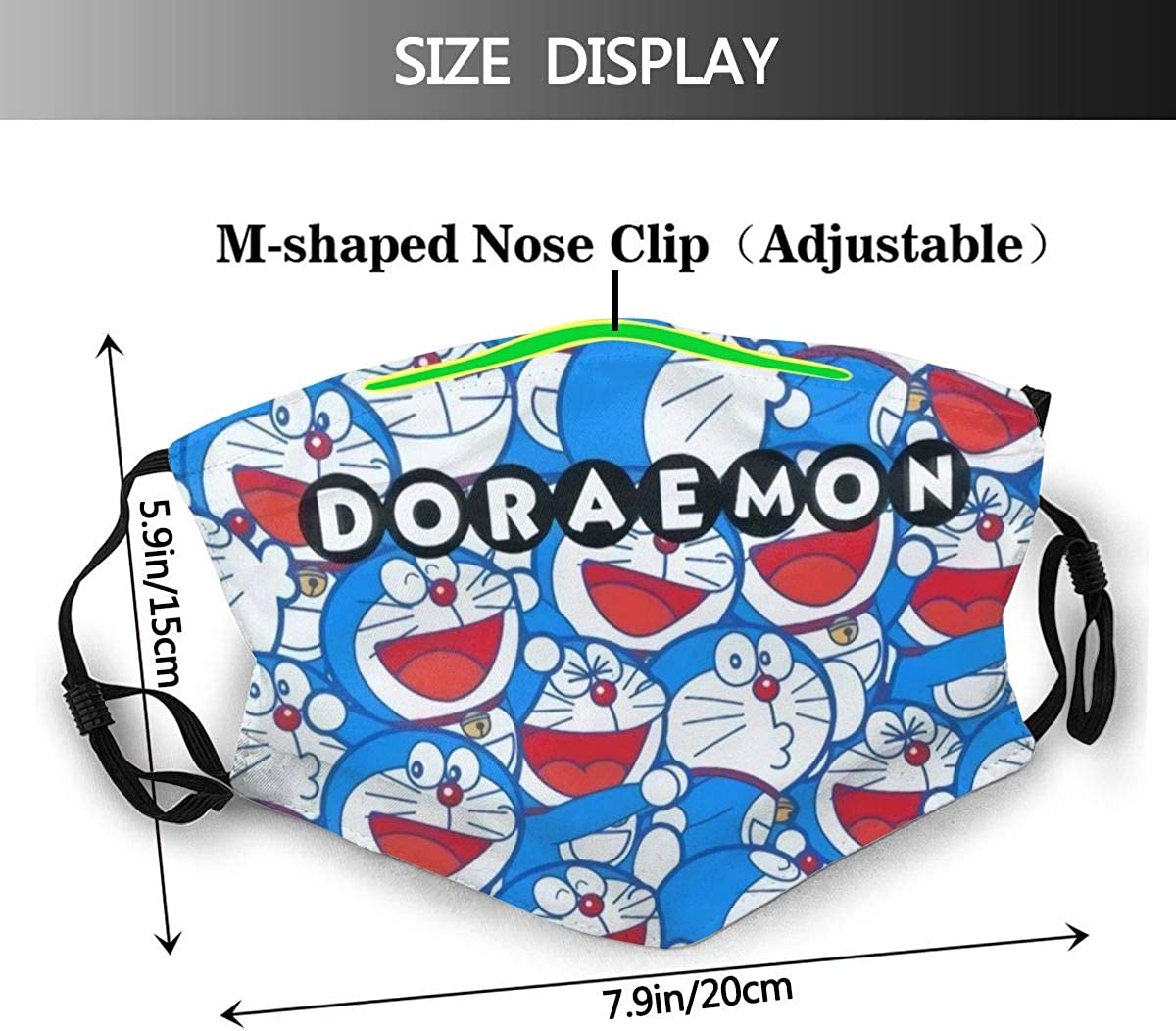 Doraemon Outdoor Mask,Protective 5-Layer Activated Carbon Filters Adult Men Women Bandana
