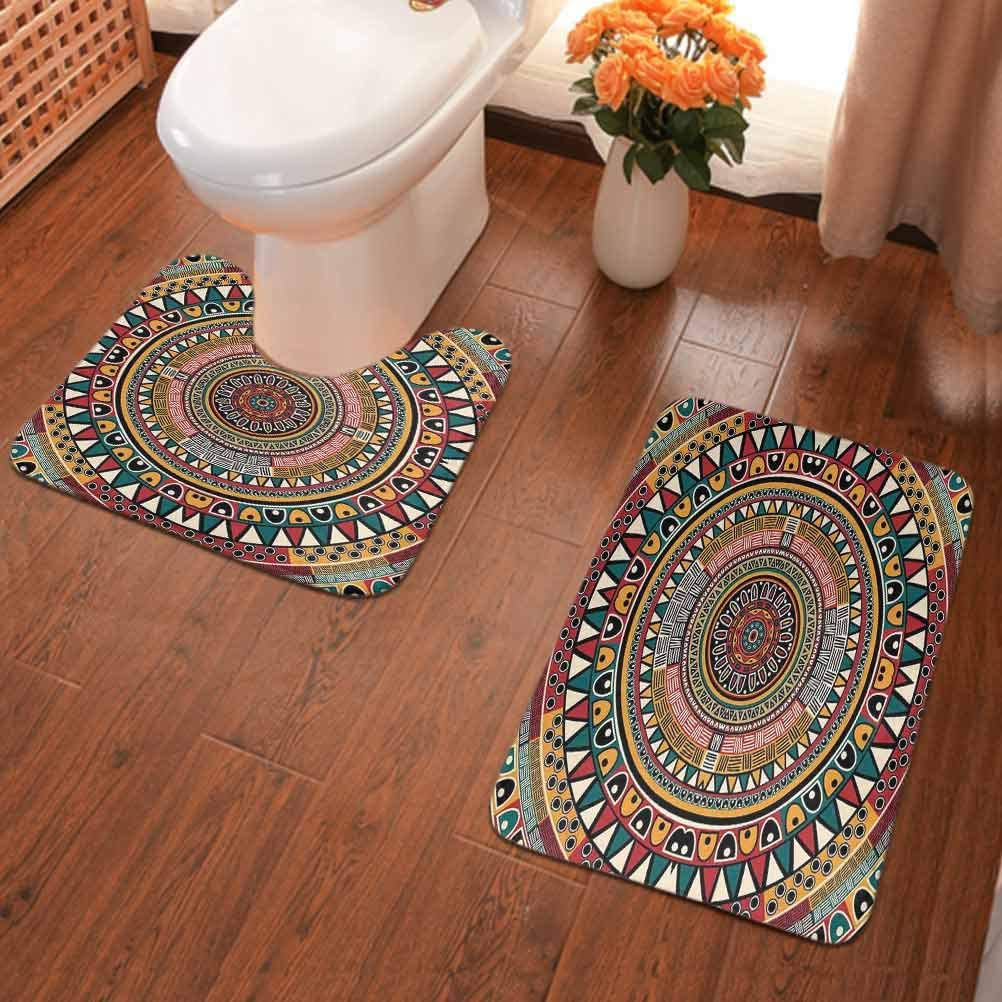 Amazon Com Tribal Bathroom Rugs Set Folkloric Tribe Round Pattern With Colors Aztec Artwork Bathroom Floor Rug With Anti Skid Bottom Jade Ruby And Mustard Home Kitchen
