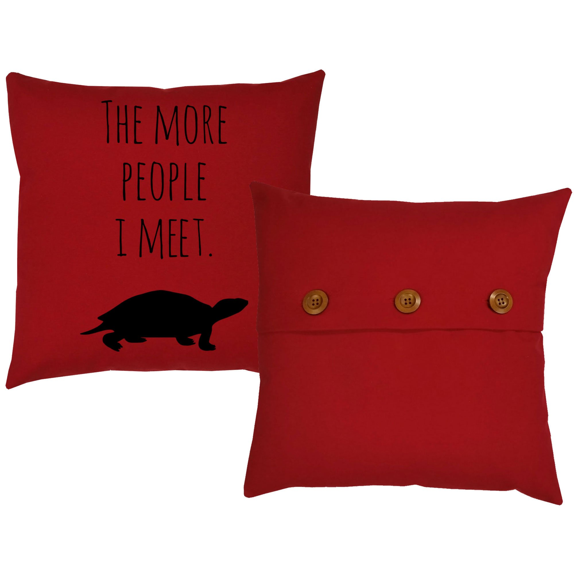 Set of 2 RoomCraft I Love My Turtle Throw Pillows 20x20 Square Red Cotton Cushions by RoomCraft (Image #3)