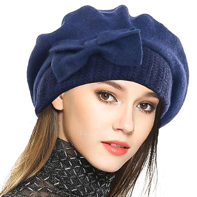 VECRY Mujer Boina 100% Lana Vestido Beanie Invierno Sombrero (Armada ... 047504530bc