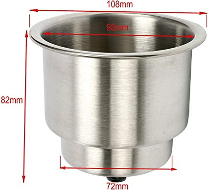 Stainless Steel Drop-In boat Cup Holder w// Drain