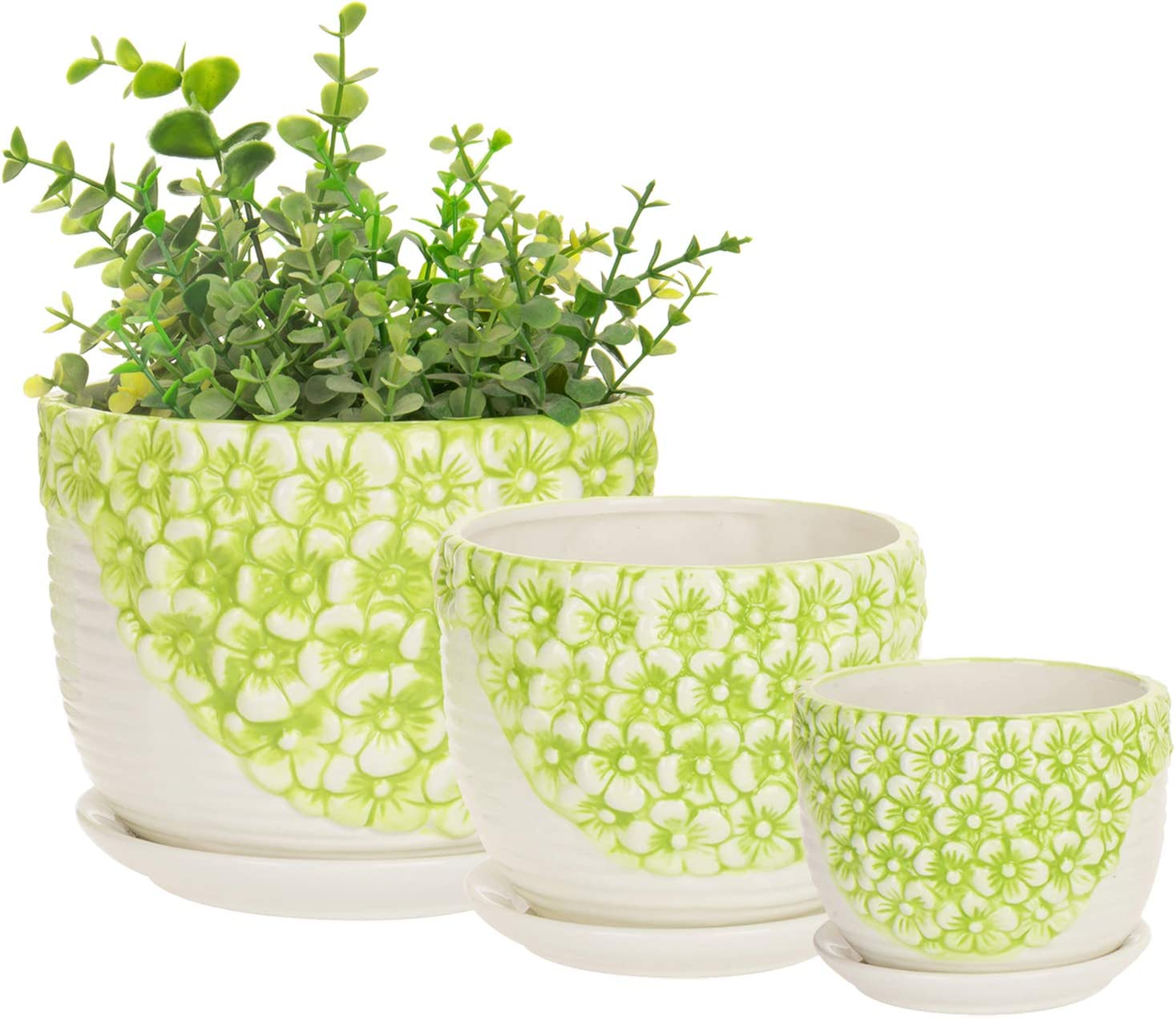 MyGift Set of 3 Green White Flower Design Nesting Ceramic Planter Pots Plant Containers w Attached Saucers