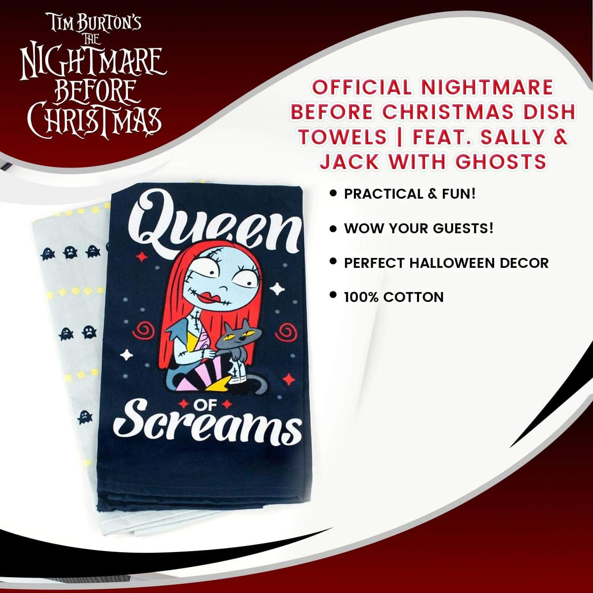 Sally /& Jack with Ghosts Nightmare before Christmas Official Dish Towels Feat