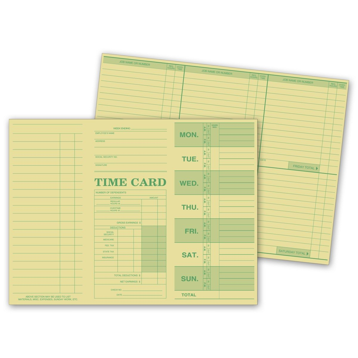 CheckSimple Weekly Time Card, Tag Stock - Pre-Printed for Jobs, Hours, Overtime, Earnings, Deductions - Manual or Time Clock Use (250 Qty) by CheckSimple
