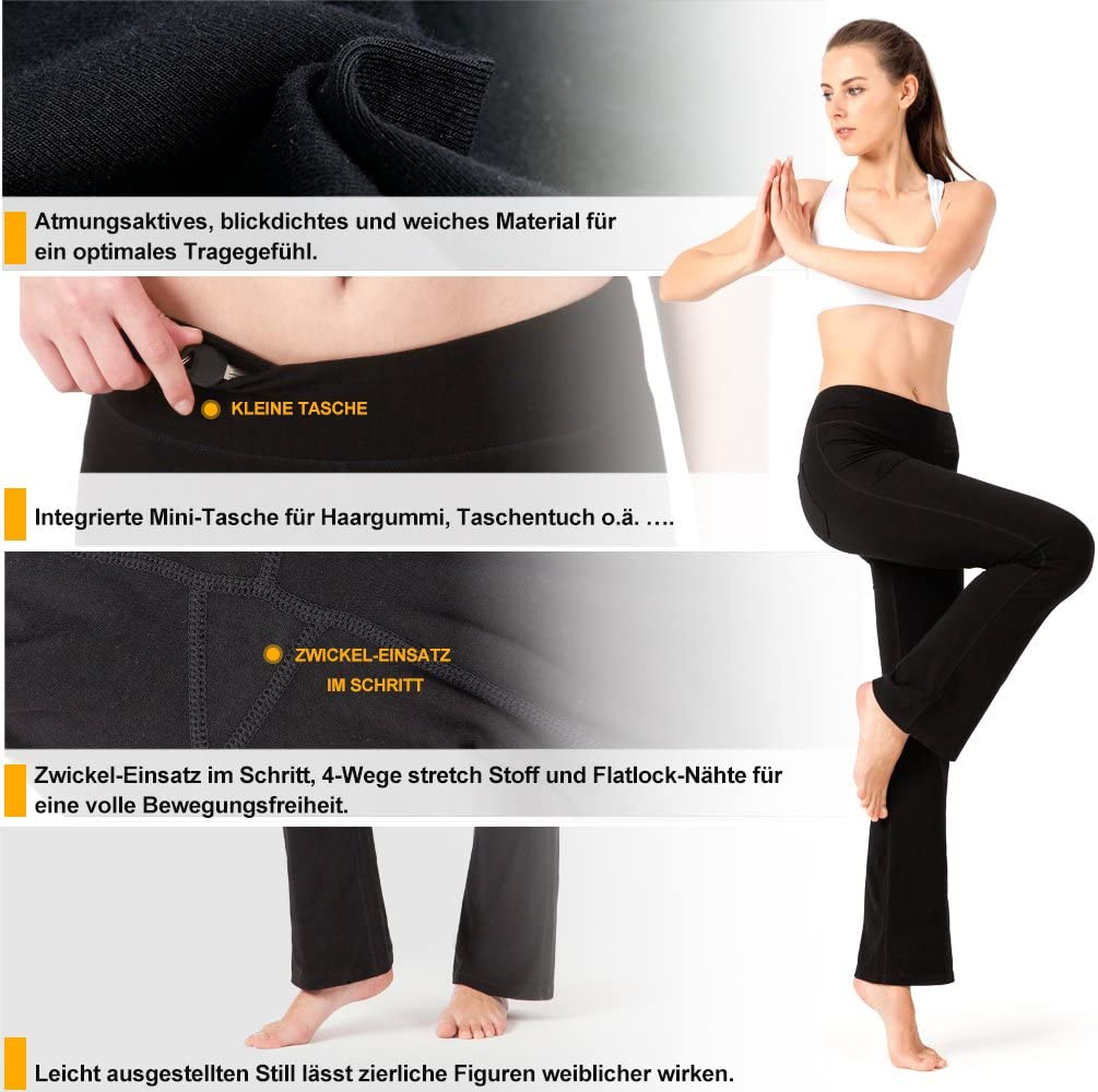 NAVISKIN Womens Bootcut Yoga Pants Bootleg Pants Back Pockets Petite//Regular//Tall Length 29//31//35 inseam