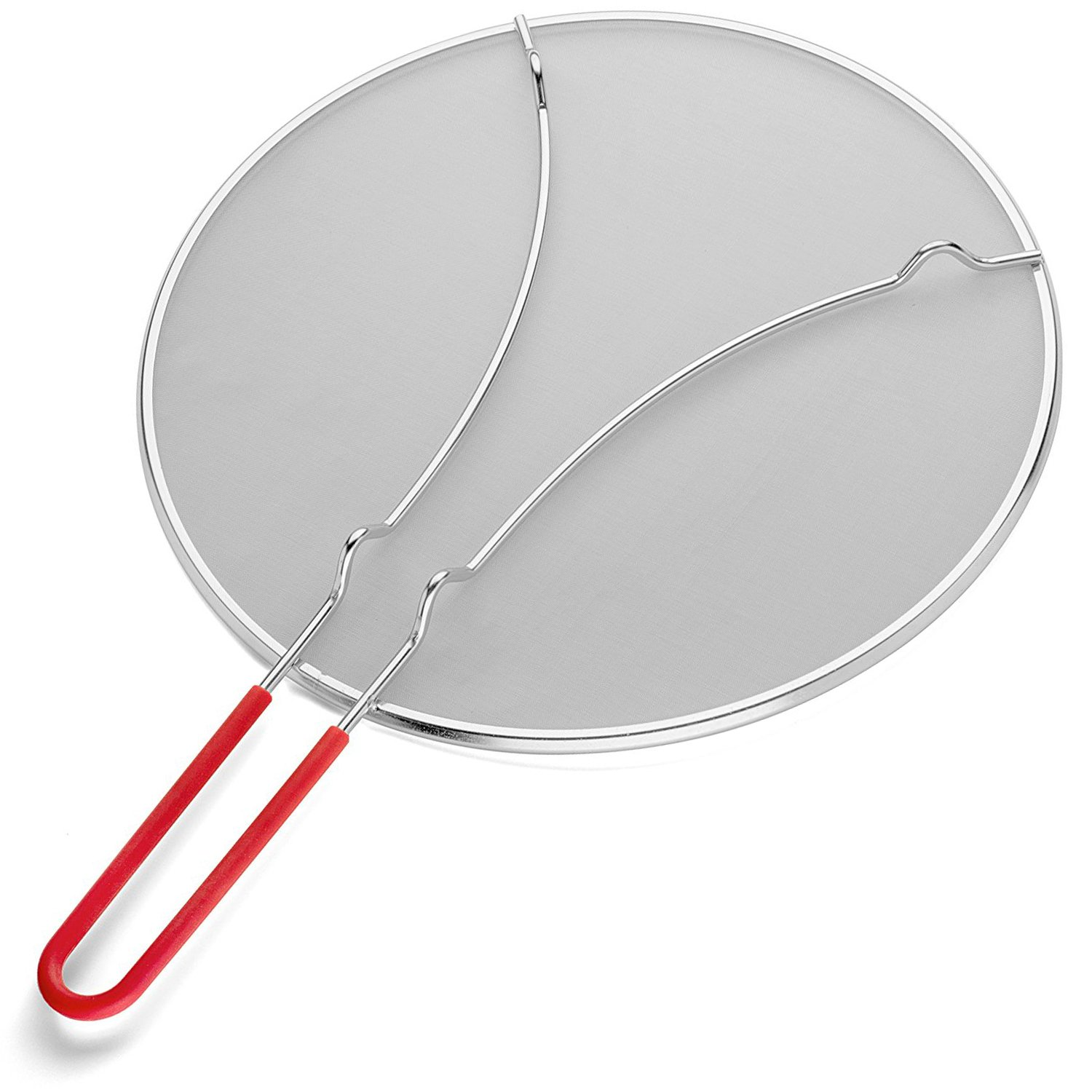 K BASIX Splatter Screen for Cooking 13'' - Silicone Handle - Stops Hot Oil Splash - Protects Skin from Burns - Grease Guard for Frying Pan Keeps Your Kitchen Clean - Heavy Duty Ultra Fine Mesh by K BASIX