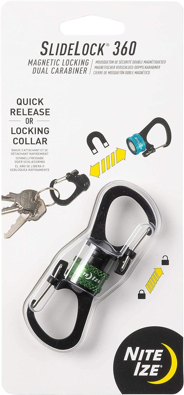 Nite Ize MSBL-08-R7 SlideLock 360° Magnetic Locking Dual Carabiner, Twist-to-Lock Collar for Separating Keys, Olive