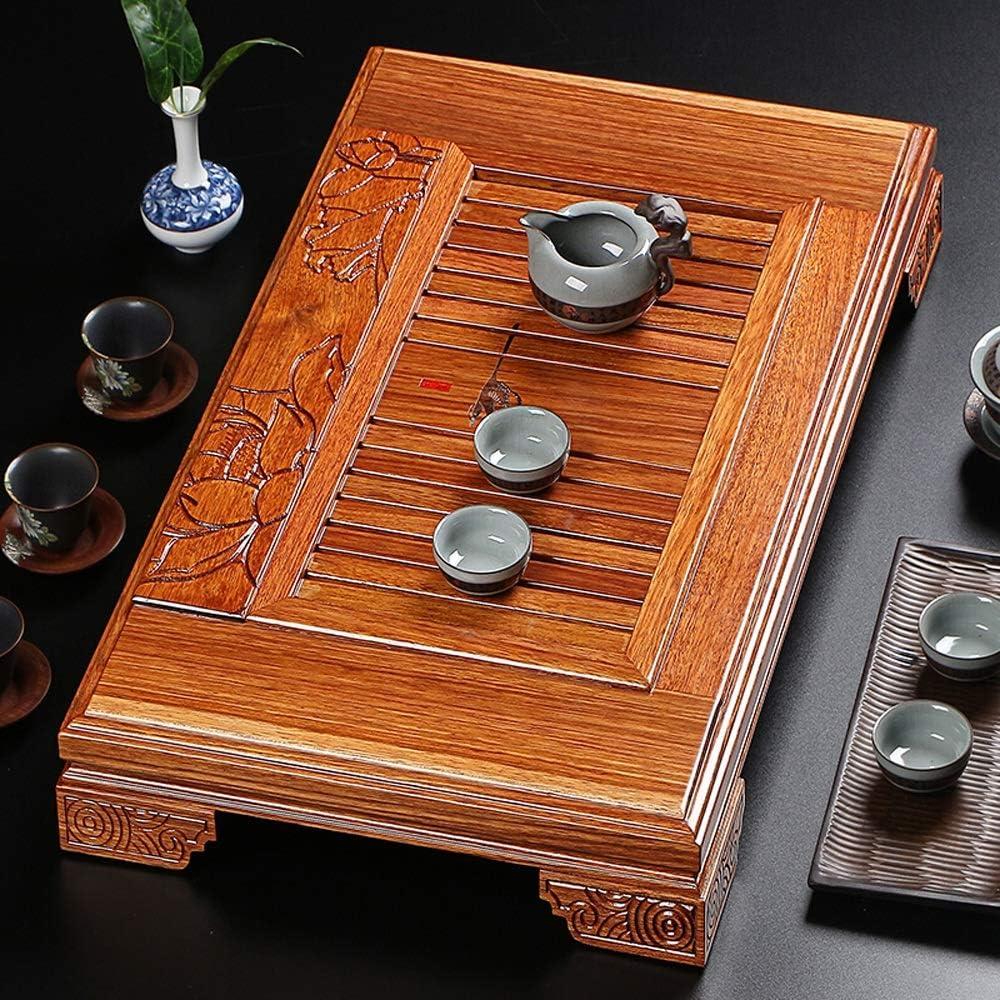 ティートレイ ゲストルームのための中国Gongfu茶道木製アートロータスカービングカンフーティーサービングプレート用トレイをサービング茶 (色 : Natural, サイズ : 61x37cm)