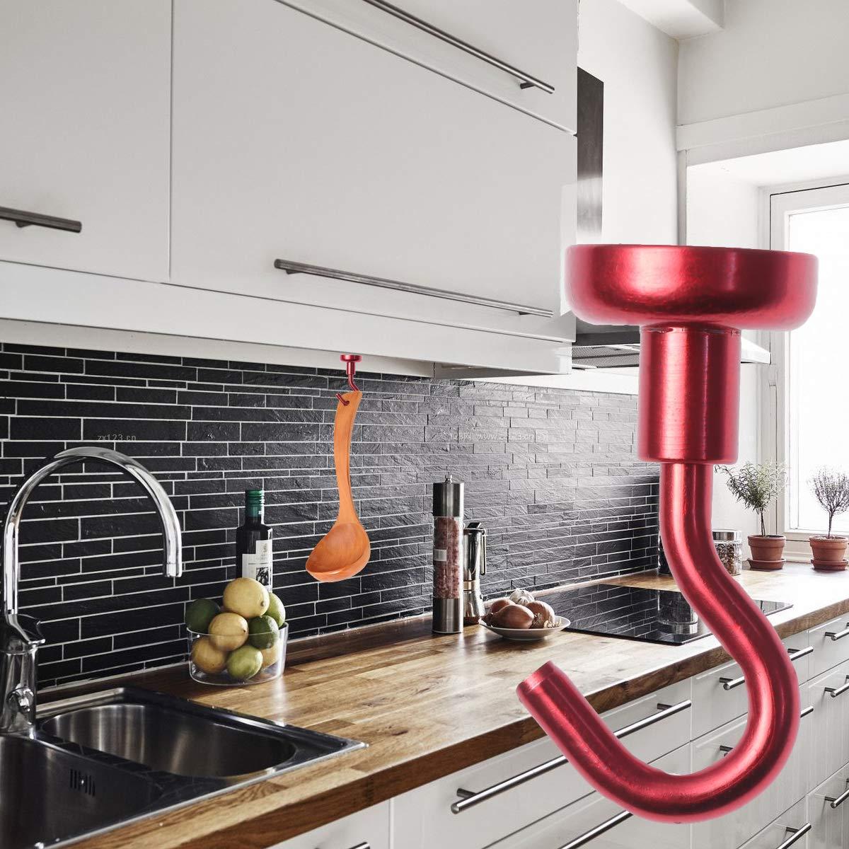 Cabilock 6 piezas de gancho magn/ético para trabajo pesado Ganchos de metal fuertes para la sala de estar en casa Comedor del dormitorio dorado, azul, rojo, verde, p/úrpura, negro di/ámetro 1,6 mm