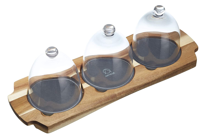 KitchenCraft Artesà Mini Cloche Appetiser Serving Set, 37 x 12 x 12.5 cm ART3PCDOME