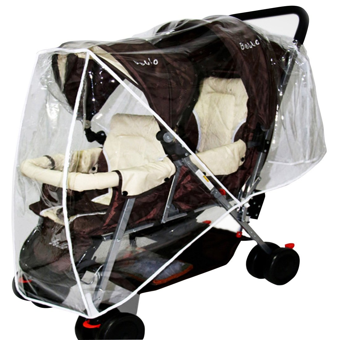 Xianheng Stroller Rain Cover Transparent Clear Waterproof Weathershield Double Pushchair Buggy Wind Shield