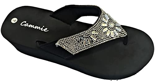 05663f086fc2a Cammie W326 Women Platform Wedge Rhinestone Bling Slides Flip Flop Sandals  Black (5