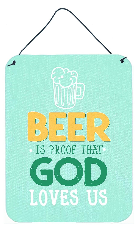 Multicolor 12x16 Carolines Treasures BB5423DS1216 Beer is Proof God Loves You Wall or Door Hanging Prints