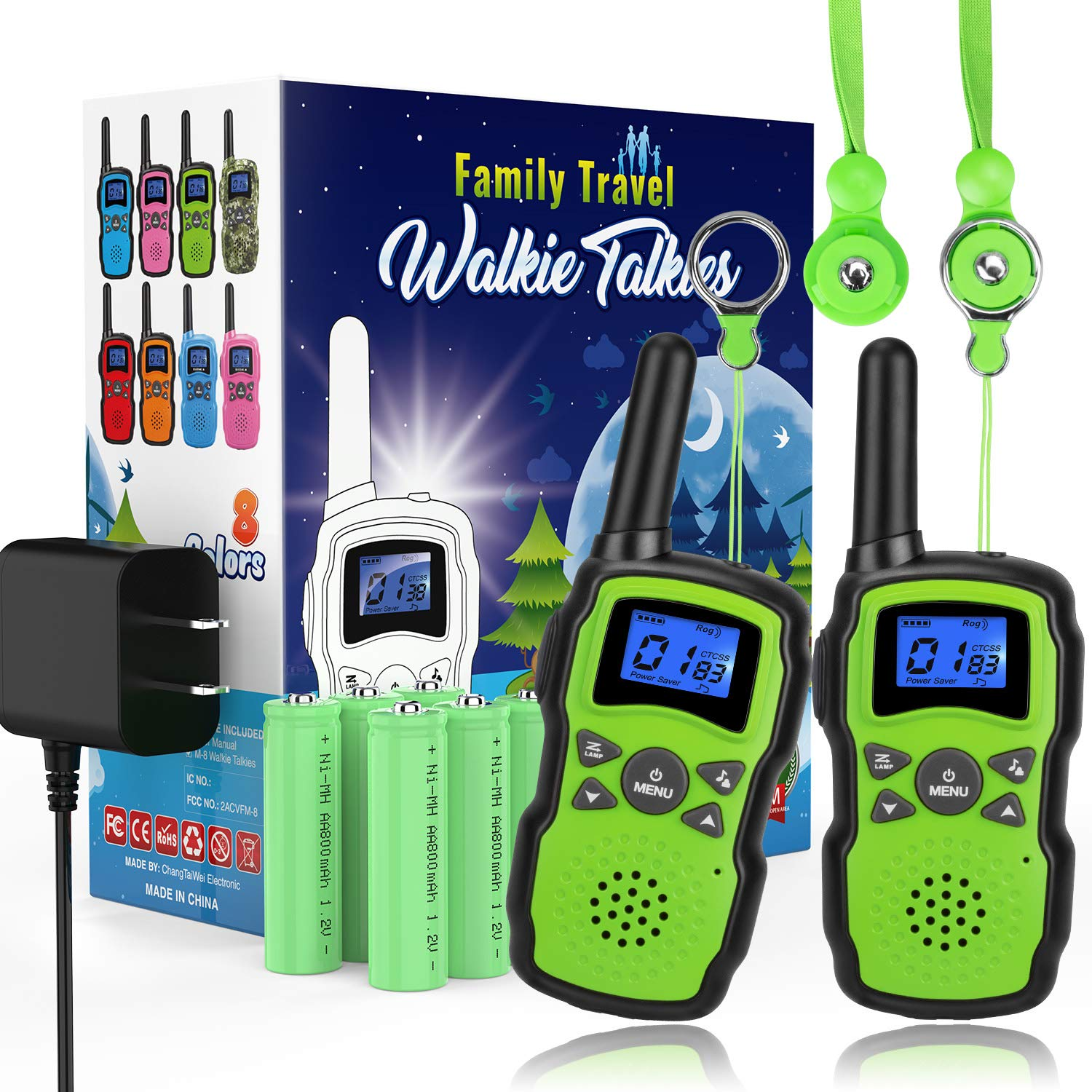 Wishouse 2 Rechargeable Walkie Talkies for Kids with Charger Battery, Two Way Radio Family Talkabout for Adult Cruise Ship Long Range, Outdoor Camping Hiking Fun Toy Birthday Gift for Girls Boys Green by Wishouse (Image #1)