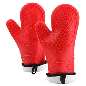 WAIKA Silicone Oven Mitt Heat Resistant Professional Kitchen Oven Gloves Quilted Liner & Non-Slip Textured Microwave 1 Pair