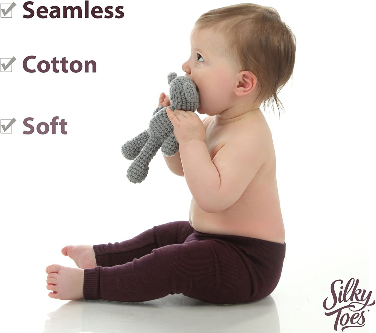 Toddler Seamless Soft Cotton Knit Pants Girls Boys Silky Toes Baby Shimmer Leggings