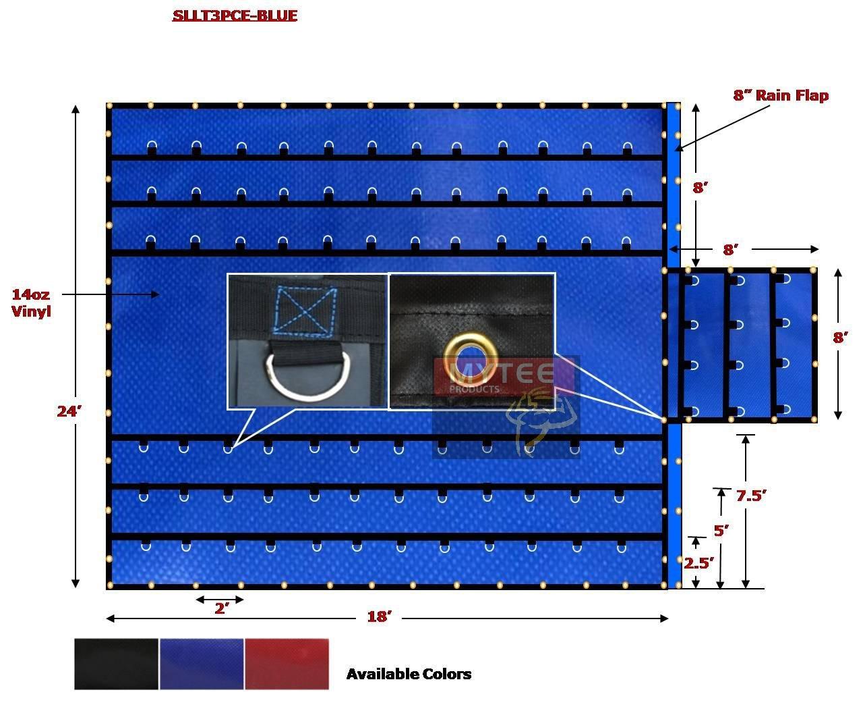 Super Light 14 Oz Lumber Tarp 24x18 (8' Drop with 8' x 8' Flap) - Blue