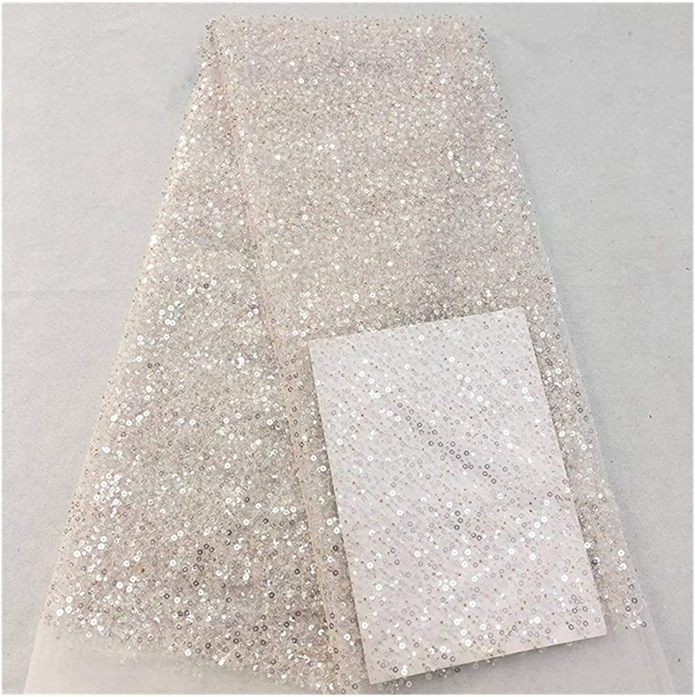 Embroidery Printing Lace Embroidered Fabrics Full Frame 3+5 Centimetre Beads Chaotic Bead Tube Embroidery Wedding Dress Fabric 5yards