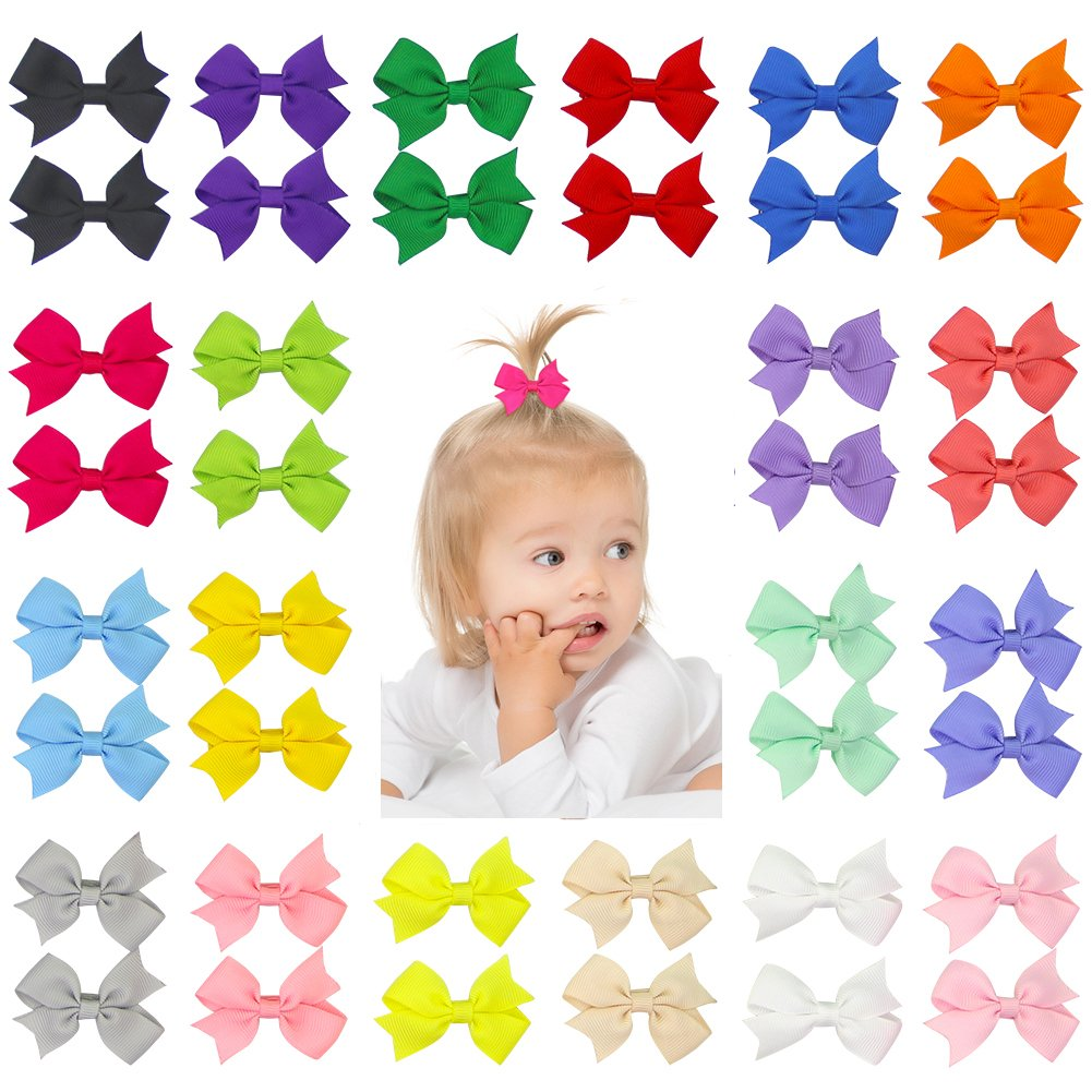 "40 Pcs Baby Girls Kids 3.5/"" Grosgrain Ribbon Boutique Hair Bows Alligator Clips"