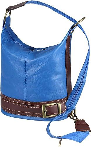 Made In Italy 2in1 Damen Echt Leder Tasche Rucksack Schultertasche Umhangetasche Crossbody Henkeltasche Backpack Blau Braun Amazon De Schuhe Handtaschen