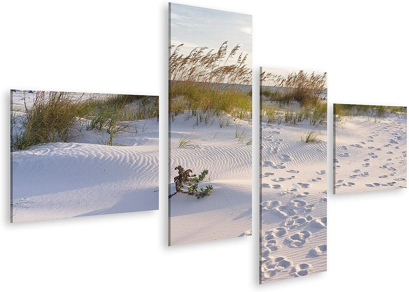 islandburner Cuadro en Lienzo Atardecer en la Playa de Pensacola en Florida Huellas en la Arena del Paisaje del Atardecer Cuadros Modernos Decoracion Impresión Salon